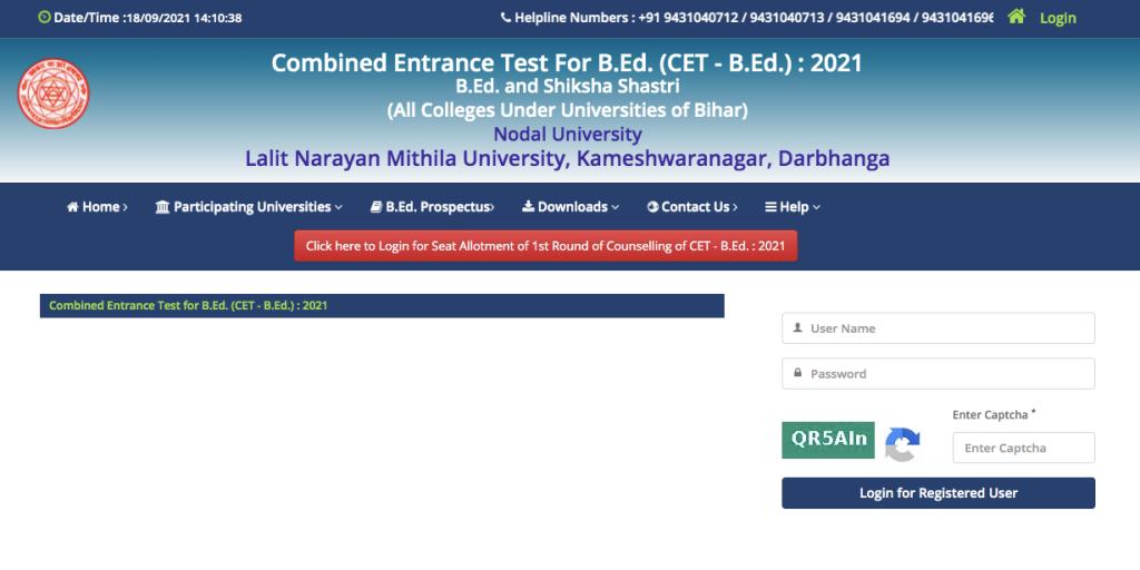 LNMU Bihar B.Ed CET Counselling 2021 1st College Allotment List Login