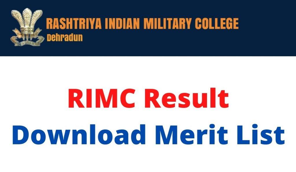 RIMC Result 2021 at www.rimc.gov.in Download Merit List June Exam
