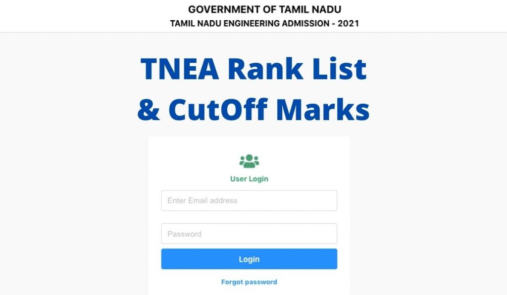 TNEA Rank List 2021 at www.tneaonline.org Cut Off Marks and Ranks