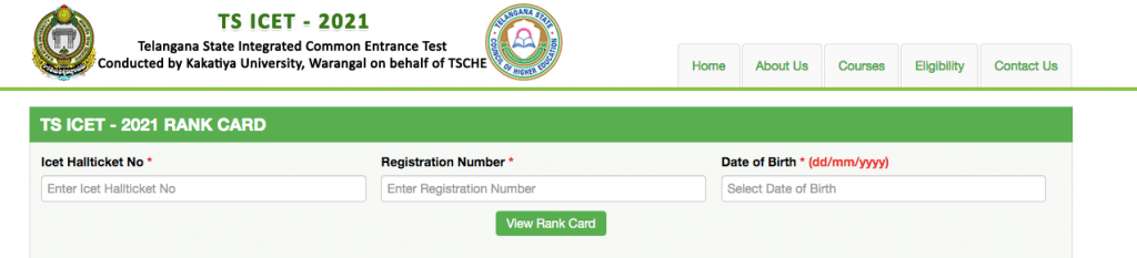 TS ICET Result 2021 Download Rank Card